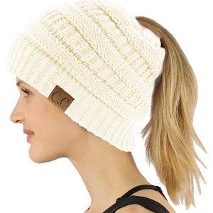 Soft Knit CC Ponytail Beanie